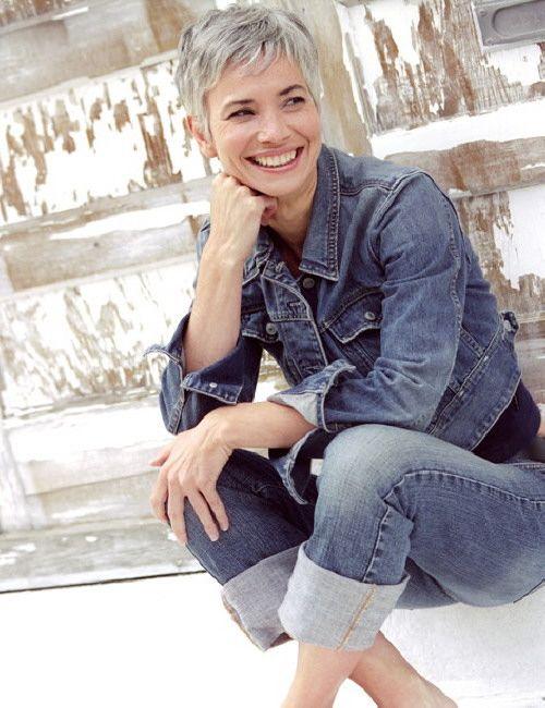 Debra Roberts - model with great short grey hair
