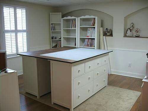 Cutting Table Idea: Put two dressers together with a large flat surface across them both.