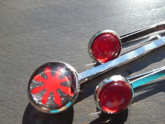 Ensemble de 3 épingles à cheveux 12mm et 8mm rouge et par CO2Bijoux