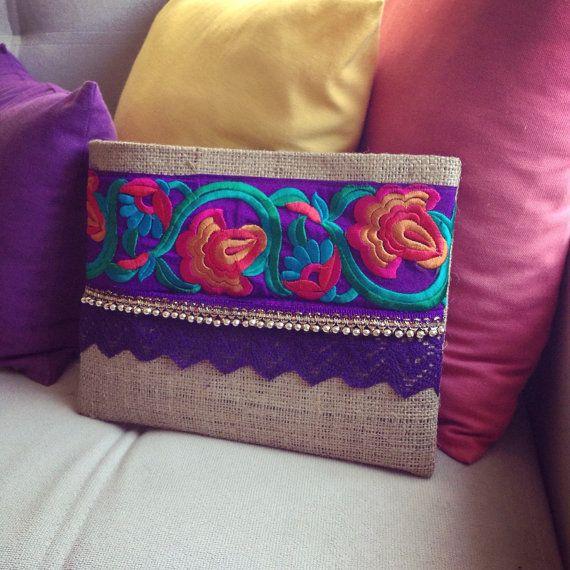 Púrpura embrague étnicos bolso de las mujeres por BOHOCHICBYDAMLA