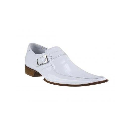 Pánske kožené extravagantné topánky biele - fashionday.eu