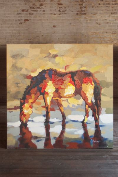This impressionistic style horse painting is hand painted ...