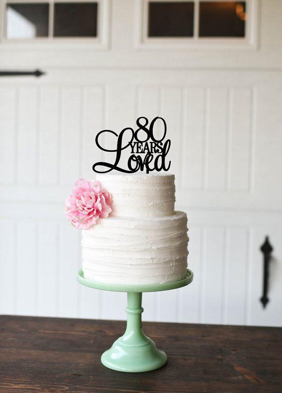 80th Birthday Cake Topper Custom 80 Years by ThePinkOwlDesigns