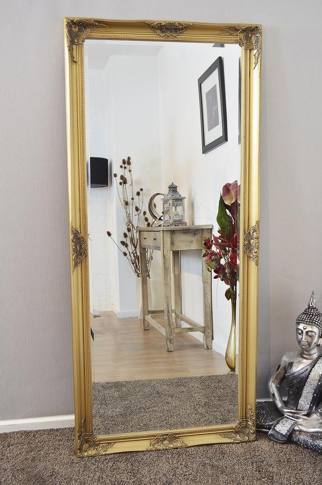 gold full length mirror Large Full Length Shabby Chic Ornate Gold Wall Mirror 5Ft6 X 2Ft6  gold full length mirror