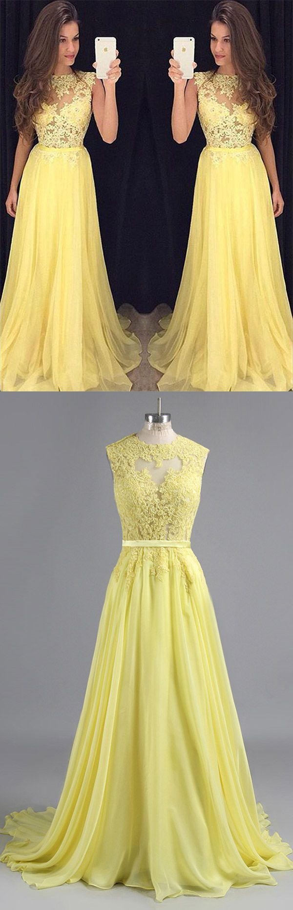Long Prom Dresses Yellow, Daffodil Party Dresses 2018 Lace, Scoop Neck Formal Evening Dresses Chiffon Boutique