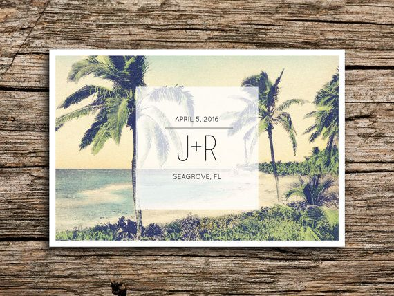 Weve paired a vintage image of a tropical coastline with modern typography to create a perfect save the date for your destination beach wedding. For