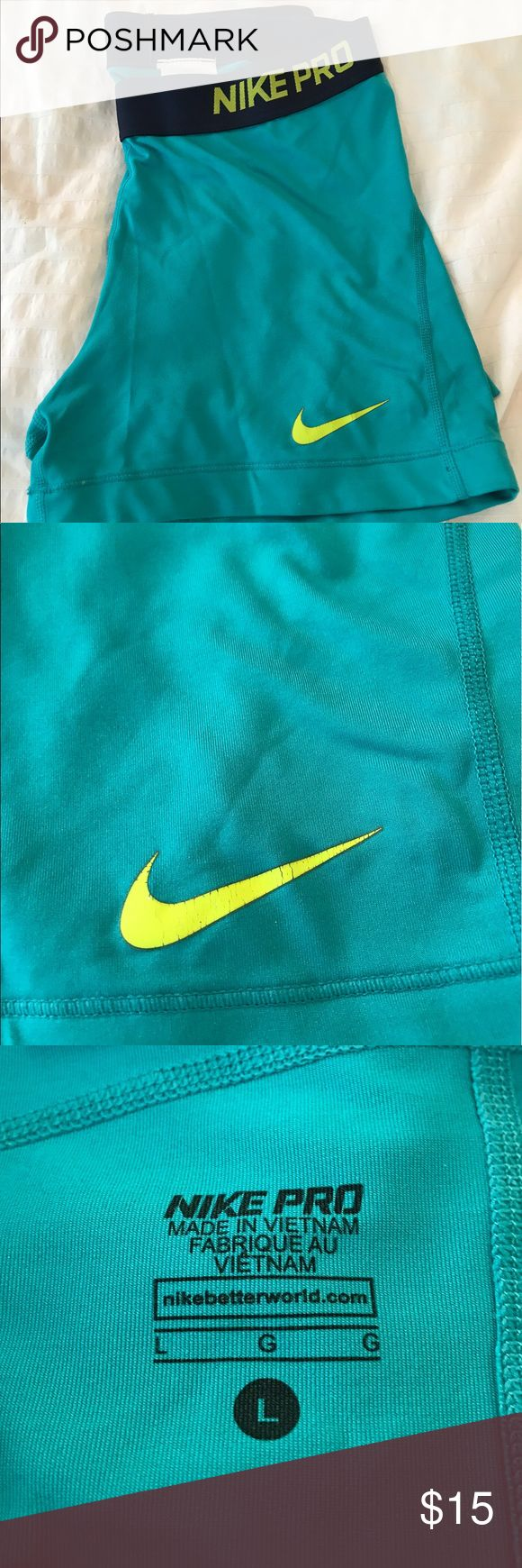 nike pro spandex blue and green Nike Shorts