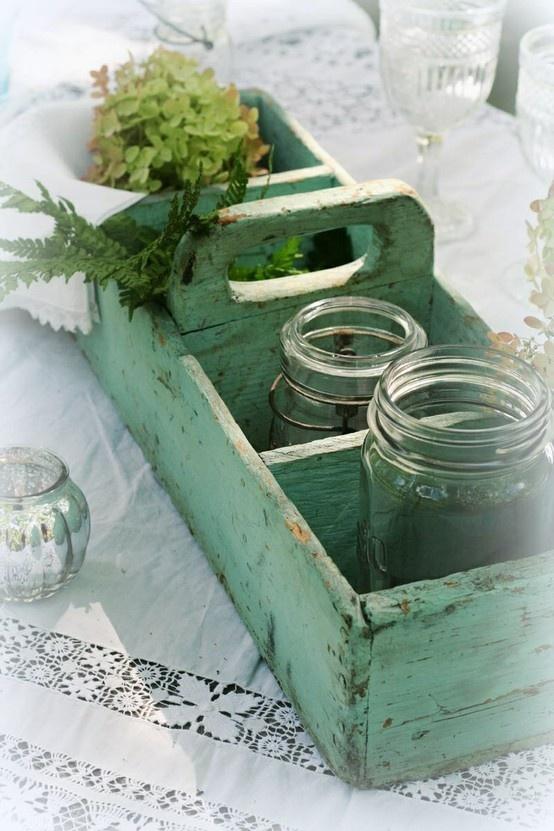 Painted box :) I LOVE mason Jars :)