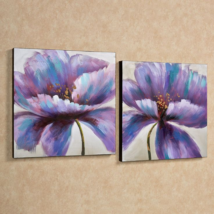 Purple Blooms Canvas Wall Art Set Set of Two