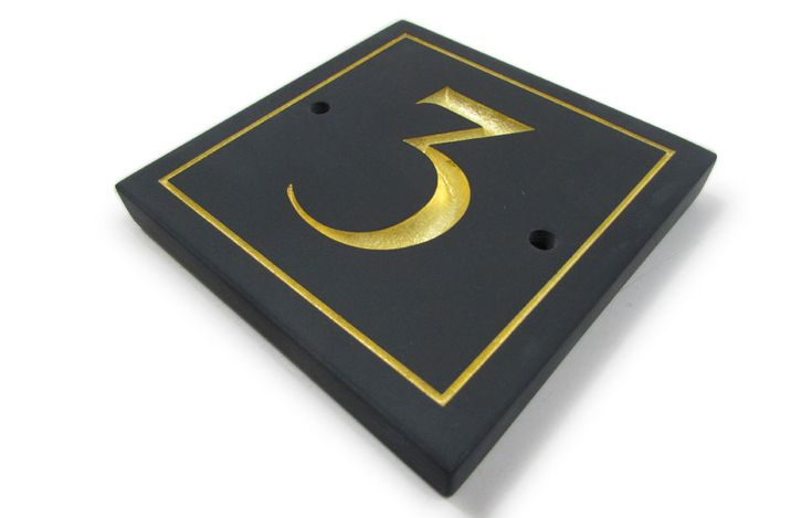 Welsh slate house number, with deeply engraved number and border, hand gilded with 23.5krt gold leaf. Email info@stonesign.com or Visit www.stonesign.com #Stonesign #stonsignco #housesign #sign #slate #welshslate #gilded #goldleaf #housenumber #number #home #plaque #stone #natural #engraving #calligraphy #design #bespoke #handmade #handfinished #handcrafted #wales #cardiff #buywelsh