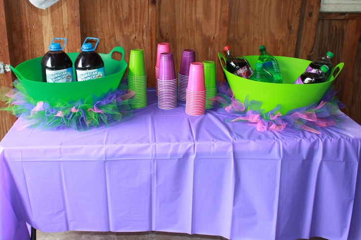 Barney themed birthday party drink table