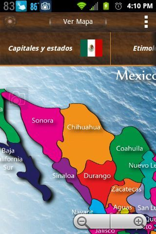 Mexico App is a great application to learn more about Mexico and the Mexican culture.<br>The Mexico App includes:<p>Only items marked with * require internet access.<p>::: High resolution map of Mexico<p>::: List of states and state capitals along with coat of arms<p>::: Etymology of many Mexican words<p>::: The history of Mexico<p>::: Mexican National Anthem<p>::: Access to Spanish Dictionary<p>::: Mexico News *<p>::: Mexico Weather *<p>Coming soon will be a lite version of the app with…