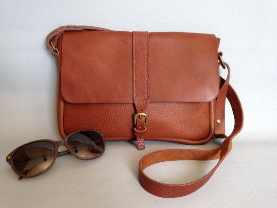 Across body tan leather satchel, women's satchel,small brown satchel.