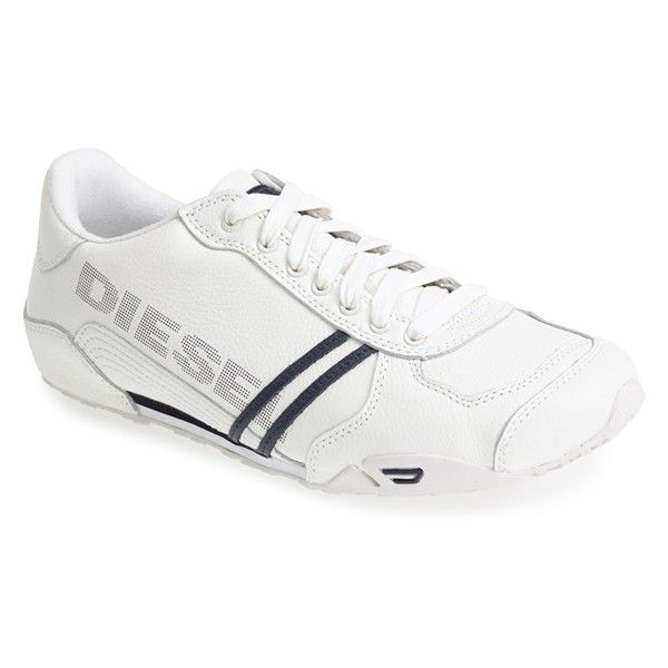 DIESEL 'Harold Solar' Sneaker (160 CAD) ❤ liked on Polyvore featuring men's fashion, men's shoes, men's sneakers, diesel sneakers, diesel shoes, diesel footwear, rubber sole shoes and diesel trainers
