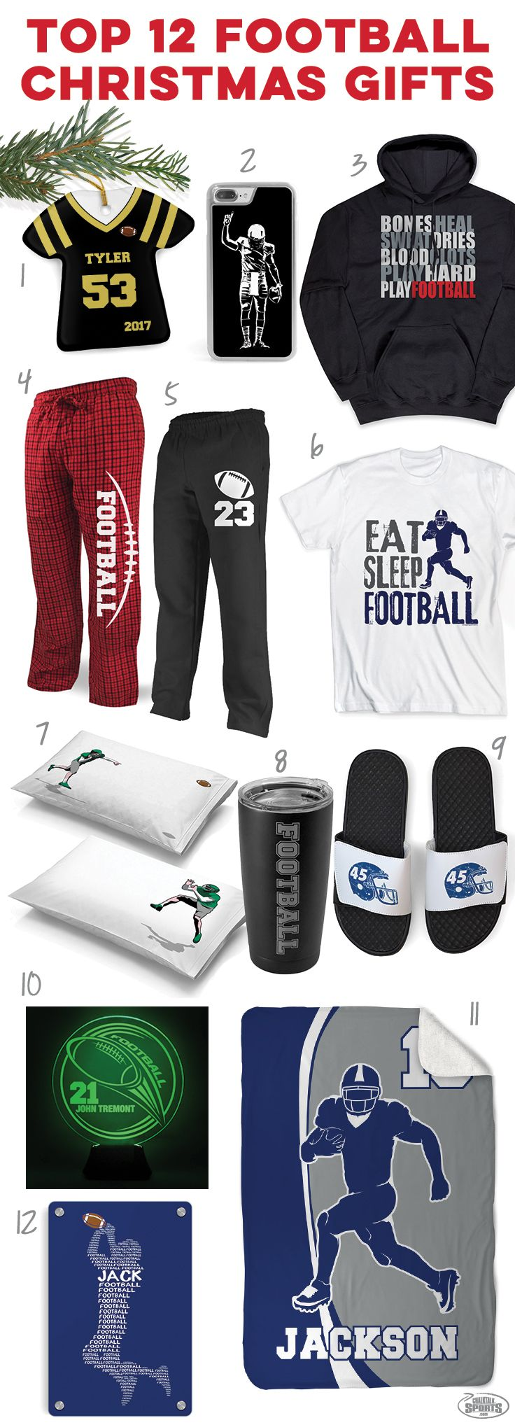 Check out these great holiday football gift ideas! Click to see more details on our top 12 football player gift ideas. Unique football Christmas gifts you can't find anywhere else!