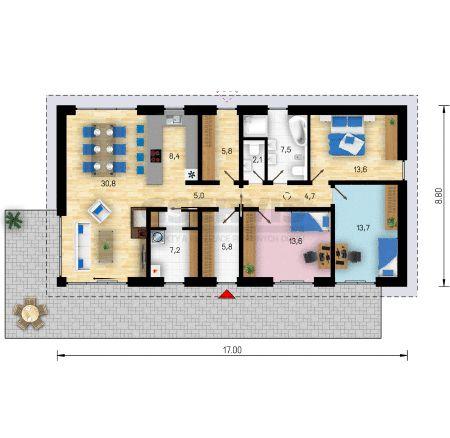 Projekt bungalovu Uno 4 - půdorys přízemí