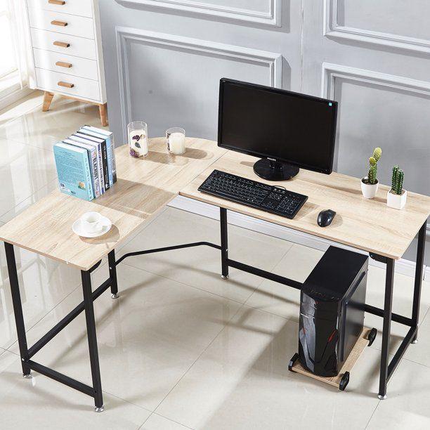 L Shaped Corner Computer Desk Workstation Home Office Wood Metal Small Size Black Walmart Com In 2020 Home Office Furniture Home Office Design Furniture