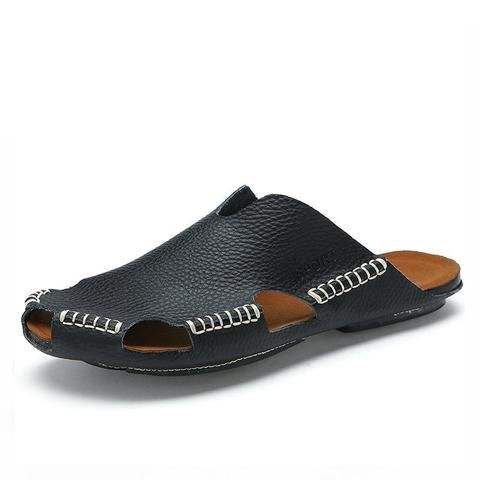 7e63c19b3974 Summer Men Sandals Genuine Split Leather From Touchy Style Outfit  Accessories ( Beige   11 )