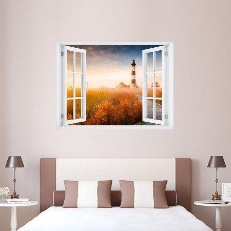 NC Lighthouse Paradise Window Art 24x32 Wall Decal