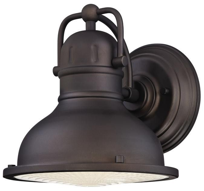 Orson LED Outdoor Wall Lantern, Oil Rubbed Bronze Finish on Steel with Clear Prismatic Lens