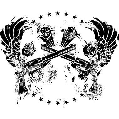 Wings tattoos on trbal gun and wing tattoo design tattoos for Back mural tattoo designs