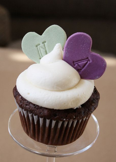Hand-stamped fondant heart cupcake toppers