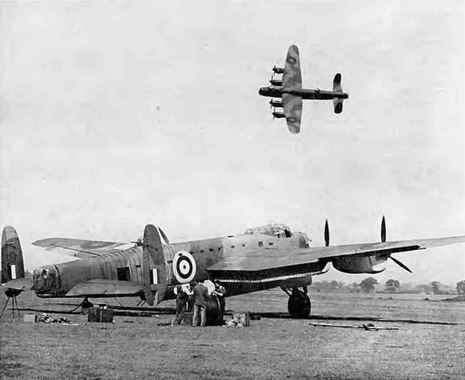 These two #WW2 #Lancaster #bombers were produced in great numbers in #England , Scotland and Wales At the time it was the worlds largest and fastest bombers. The picture shows one in flight with four mighty Merlin engines taking it into the wild blue yonder and the other with its 8 ton load ready for an operation against the Axis forces. Source: Forces War Records Historic library.
