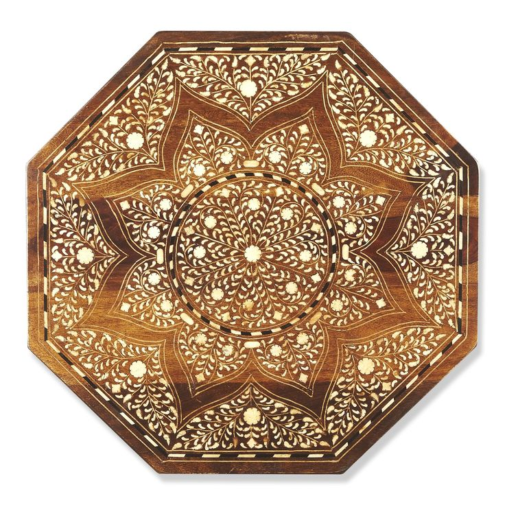 """This distinctive octagonal accent table will stylishly enhance your space. Featuring a Wood & Bone Inlay Finish, it is hand crafted from mango wood solids, bone. Dimensions: 20""""W, 20""""D, 20""""H 35 lbs. M"""