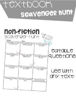 Textbook Scavenger Hunt Help your students get to know their textbooks during the first weeks of school Includes • Editable Cells • Non-fiction Text Features • Chapters/Units • Title & Author Check out these other Back To School Activities Classroom Scavenger