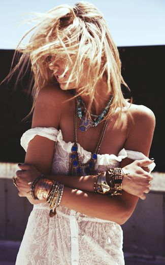 Beach boho chic off the shoulder sexy lacy boho top, gypsy layered jewelry, modern hippie stacked bracelets & bangles & chunky rings. For the BEST Bohemian fashion style trends FOLLOW http://www.pinterest.com/happygolicky/the-best-boho-chic-fashion-bohemian-jewelry-gypsy-/