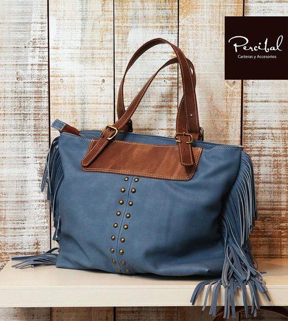 Boho school bag fringe leather tote boho laptop bag by Percibal