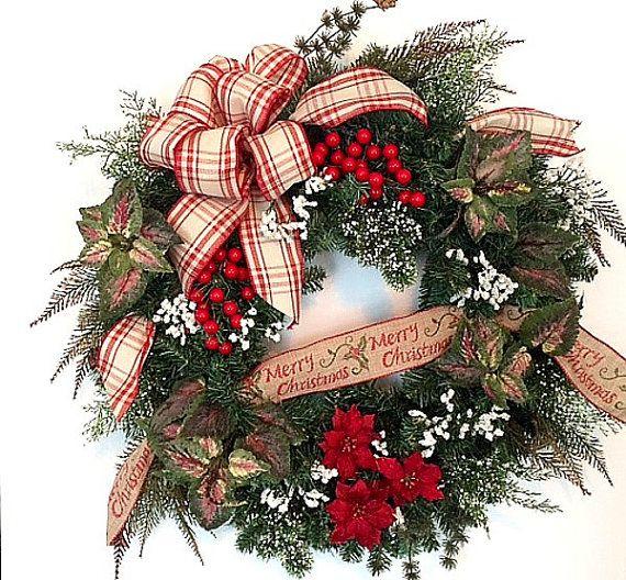 Traditional Christmas Wreath, Holiday Wreath, Red Plaid Bow, Merry Christmas  Wreath, Poinsettias, Winter Wreath, Nostalgic Wreath