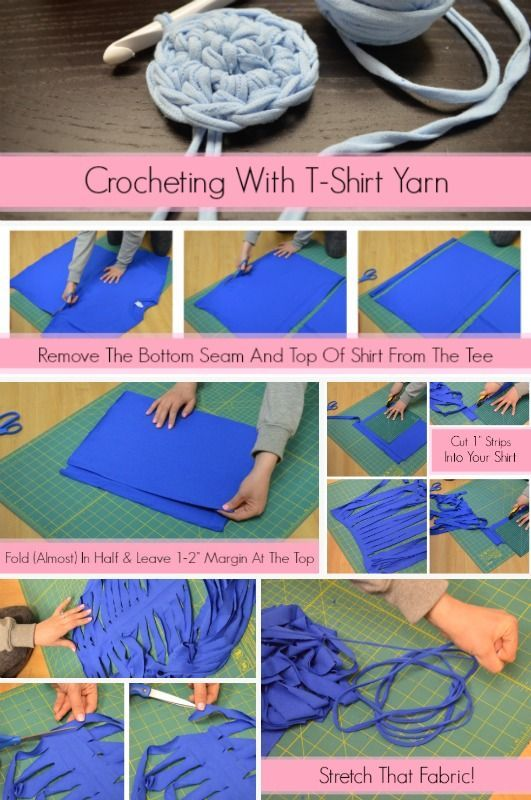 DIY - How to make t-shirt yarn from old tees, easy instrustions