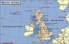Mapa de Reino Unido de Gran Bretaña e Irlanda del Norte