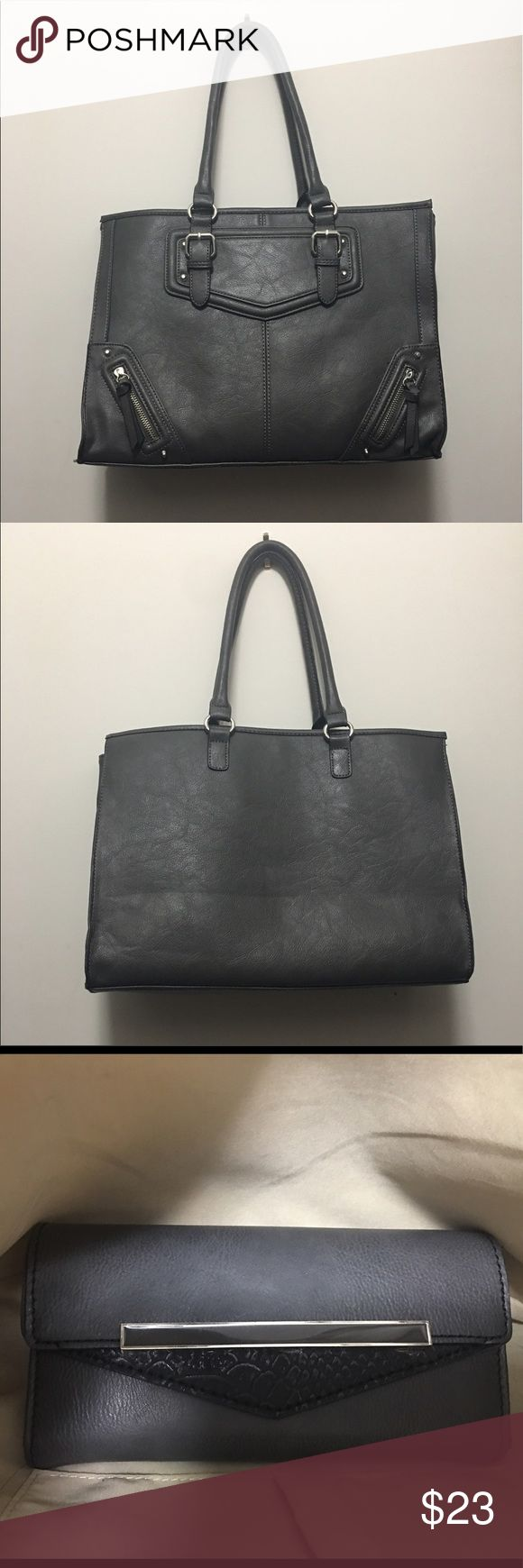 Aldo Tote Gray Aldo Tote Bag - with matching wallet // small stain on inside, see photo Aldo Bags Totes