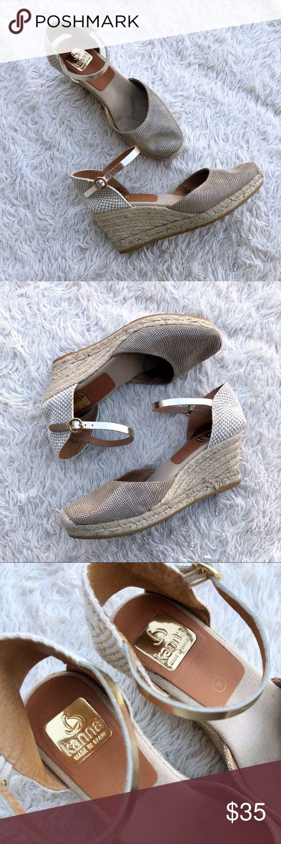 """KANNA Gold Metallic Espadrilles Wedges Gold & tan wedge espadrilles in great condition. Metallic ankle strap & 3"""" heel. There is some staining on the footbed; but these really look like they've hardly been worn. ✨OFFERS WELCOME✨ Kanna Shoes Espadrilles"""