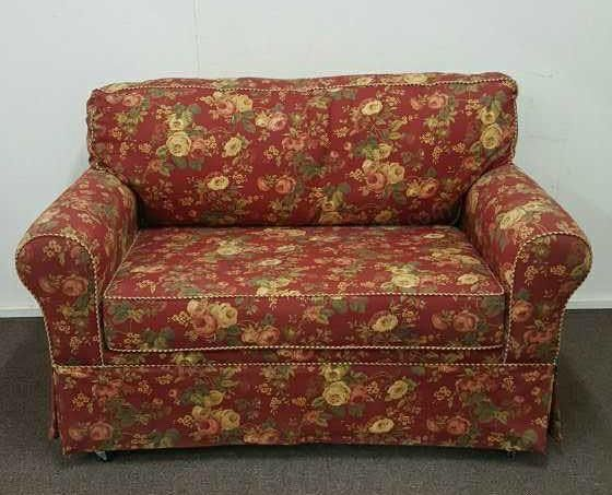 Red Floral Love Seat Sleeper Sofa