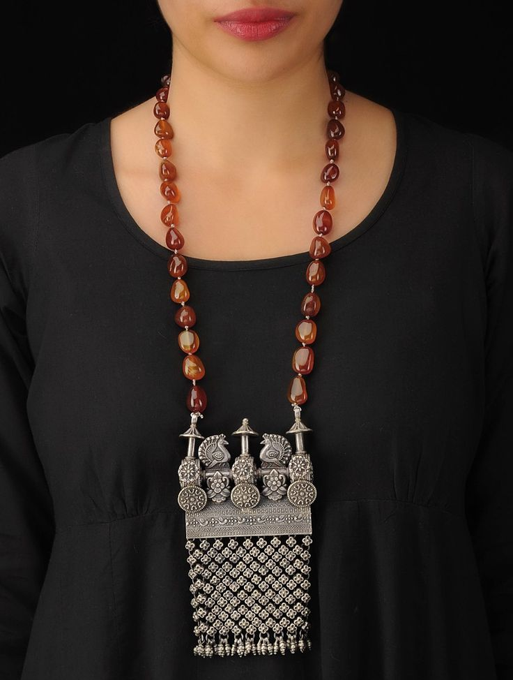 Buy Silver Brown Peacock Necklace 92.5% Sterling Semi Precious stone Jewelry Online at Jaypore.com