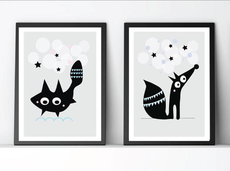 Set of 2 nursery poster, Kids print, Nursery wall art, Nursery wall decor, kids wallart, Modern graphic design, Scandinavian design, baby by Eveandelliot on Etsy