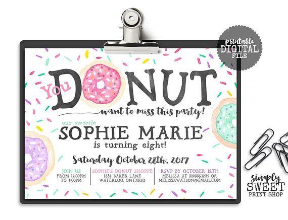 Donut Birthday Invitation Invite Sprinkle Sprinkles Pink Mint Purple Watercolor Donuts & Pajamas Sweet Celebration Girl First Birthday