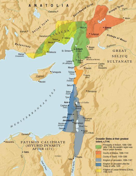 Mapa de las conquistas cruzadas en 1144.
