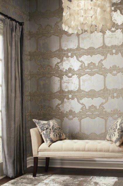 NEUTRAL HEAVEN   Interior Design And Mood Creation: Metallic Wallpaper    Silver Leaf
