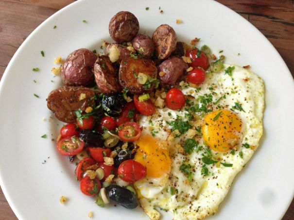 Chicken Fat Potatoes, Fried Eggs and Tomato Olive Salsa.