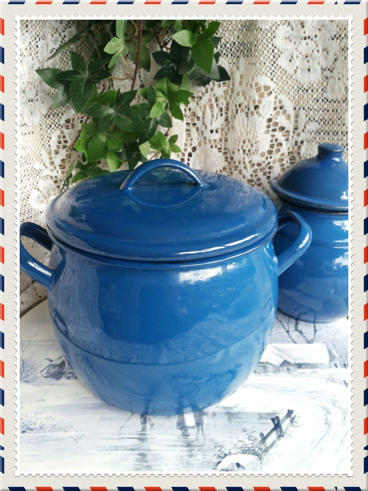 Vintage enamelware blue kettle or pot by PawhillTreasures on Etsy