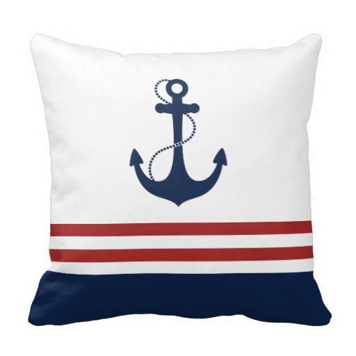 Nautical Anchor Throw Pillows.  Love the white, red, and blue coloring.  Nice addition to the cabin, home or office.