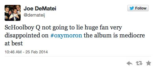 Is it any good? Well....=> '20 Twitter Reviews Of Schoolboy Q's 'Oxymoron''