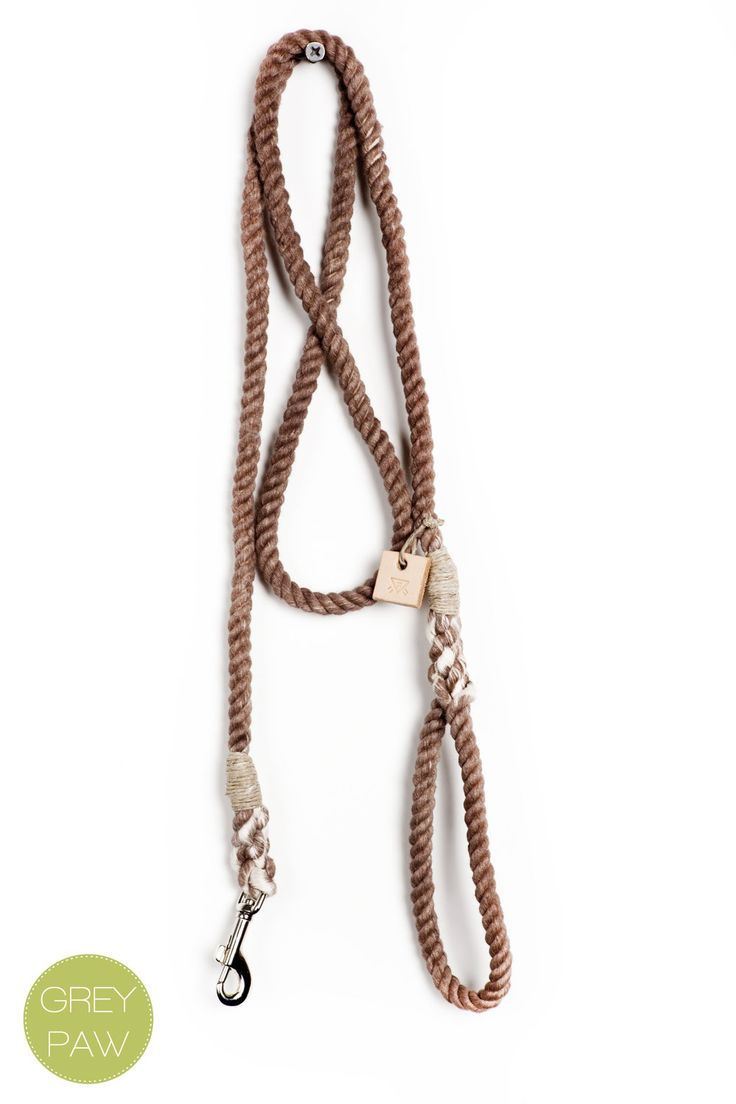 """Rope dog leash dog collar pet accessory dog lead: Small brown cotton rope 50"""". $30.00, via Etsy."""