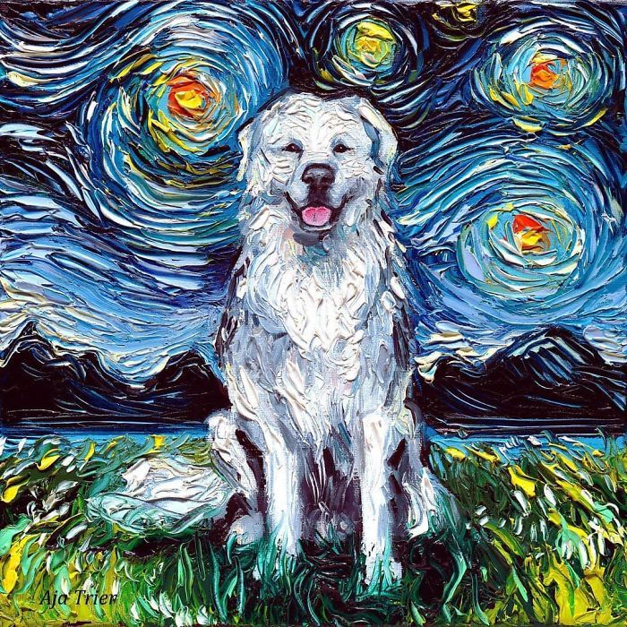 Van Gogh Starry Night Reimagined Dogs Paintings Aja Trier Starry Night Art Night Art Canvas Art Prints