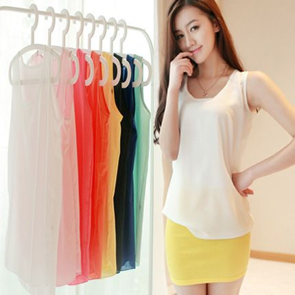 Wholesale Women Blouses 2017 summer new arrive O-neck sleeveless 16 Candy color plus size S-XXXL clothing chiffon shirts 5003