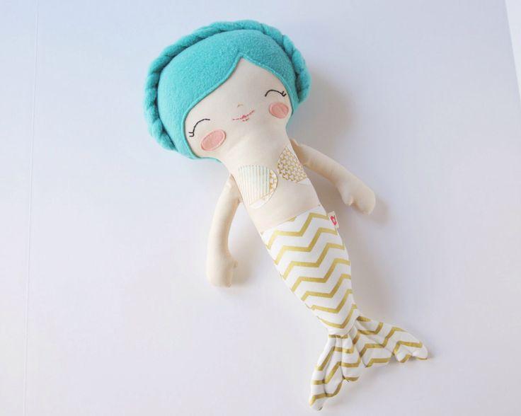 Marina - Teal Hair Mermaid Rag Doll - Customizable Children's Soft Stuffed…